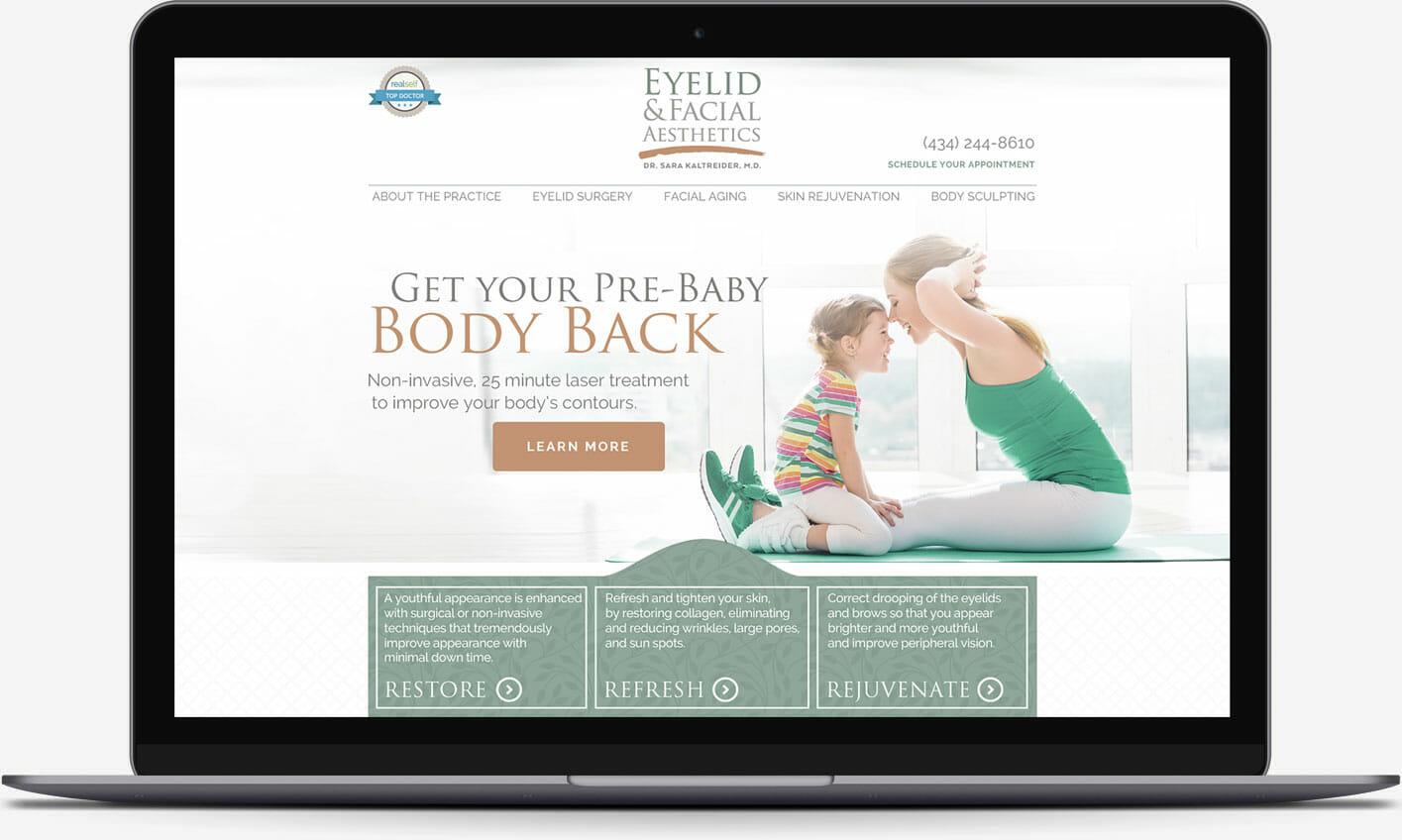 Eyelid & Facial Aesthetics website homepage design