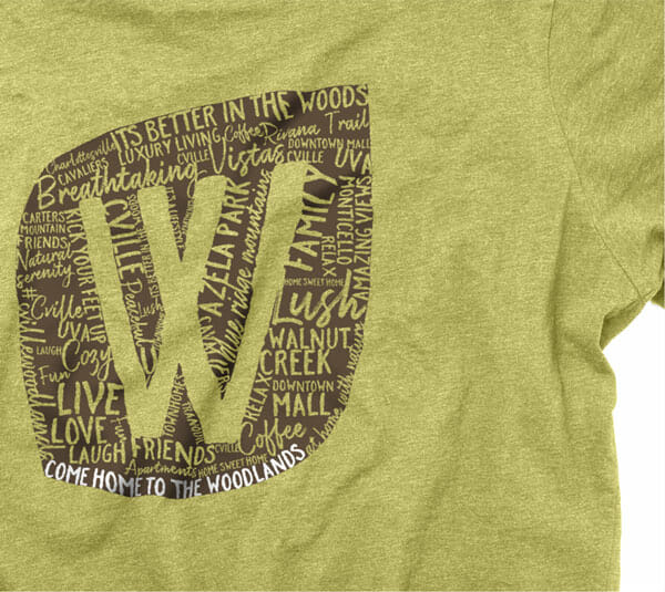 T-shirt design for Woodlands of Charlottesville