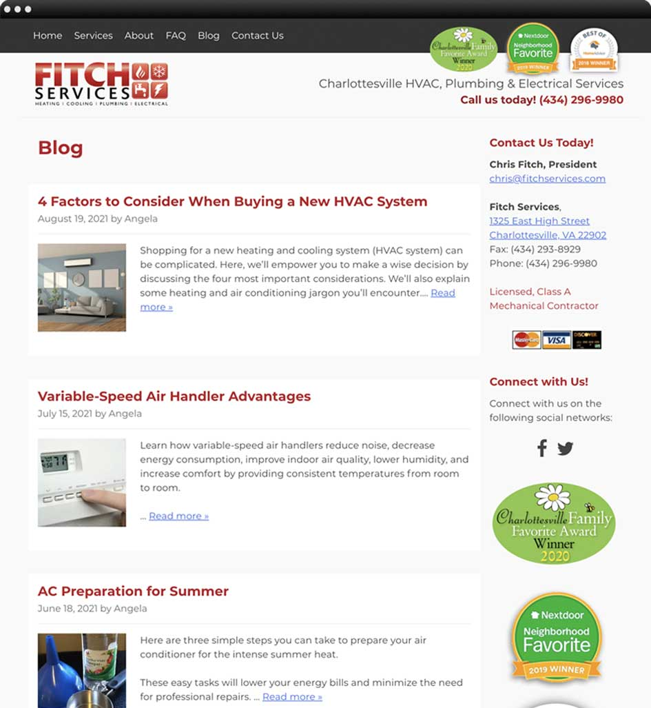 Web design portfolio: Fitch Services Heating, Cooling, Plumbing, Electrical