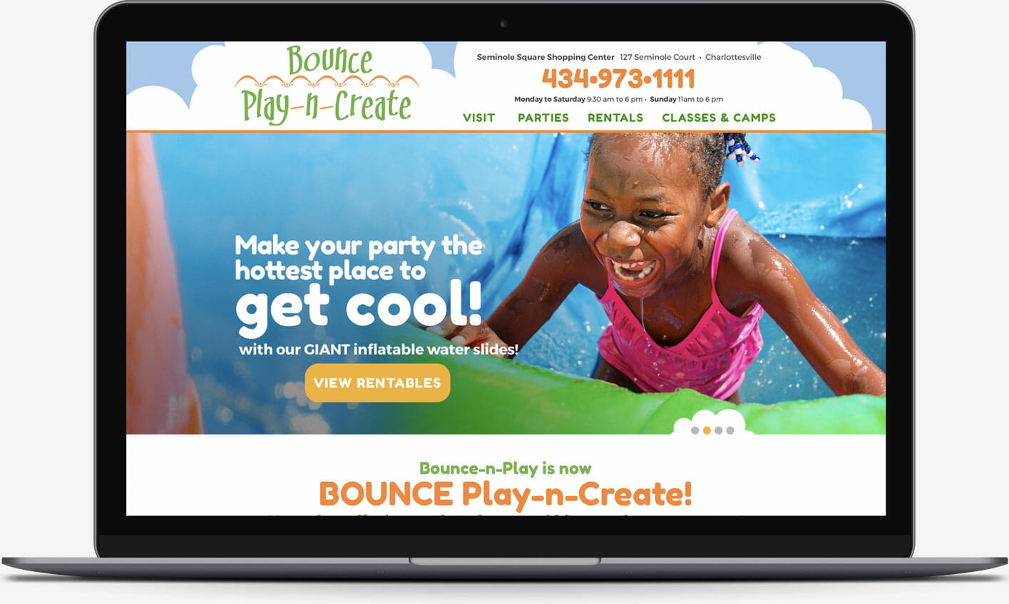 Bounce Play-n-Create website home page design