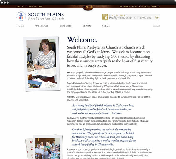 Church website welcome page design