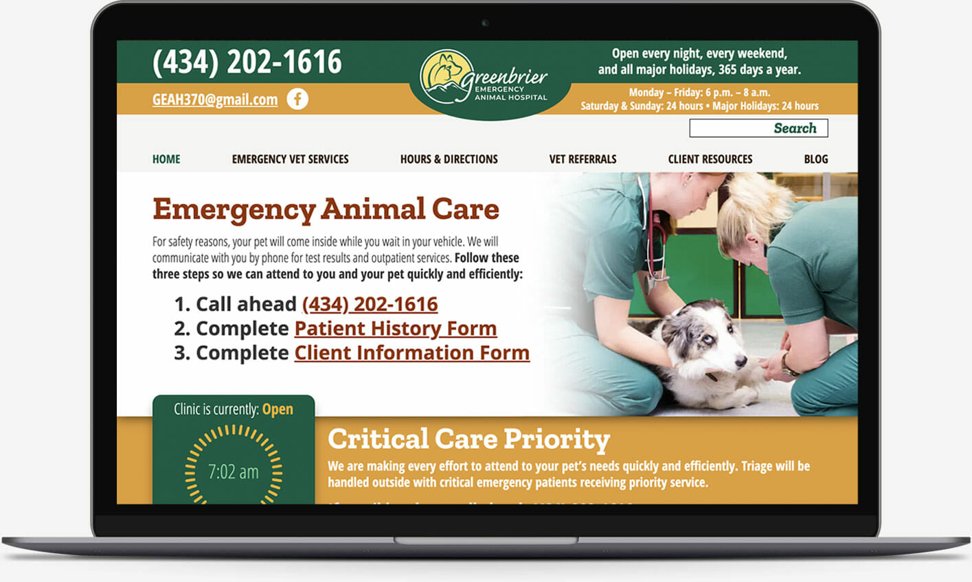 Web design portfolio: Greenbrier Emergency Veterinary Hospital