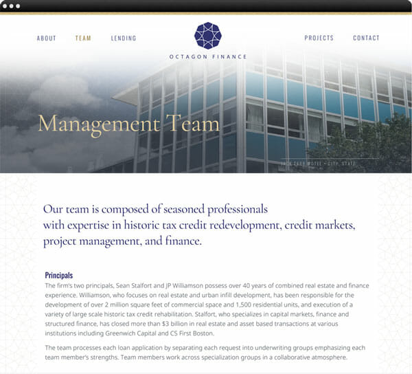 interior web page for Octagon Finance