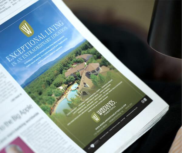 print ad design: Woodlands of Charlottesville