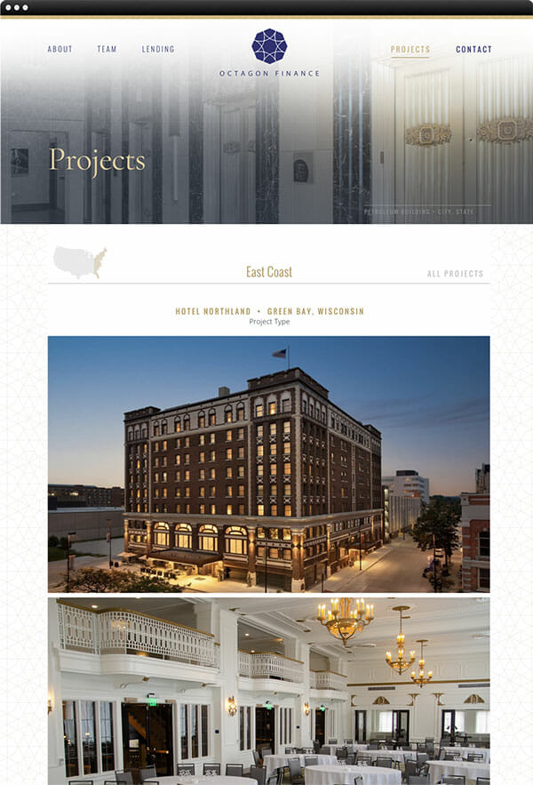 web design projects page for Octagon Finance