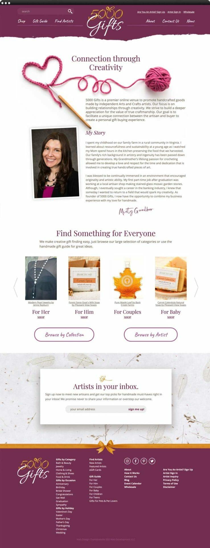 Web design portfolio: 5000 Gifts Website